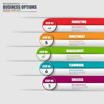 Plantilla de diseño de infografía y los iconos de marketing. concepto de negocio con 5 opciones, partes