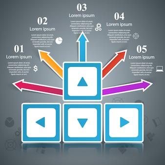 Plantilla de diseño de infografía y los iconos de marketing.