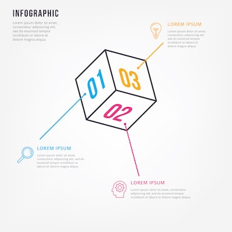 Plantilla de diseño de infografía minimalista delgada línea
