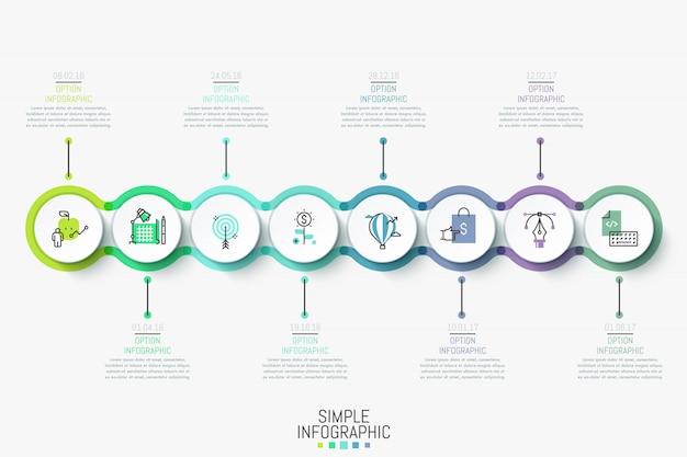 Plantilla de diseño de infografía moderna. línea de tiempo horizontal colorida con 8 elementos redondos, iconos y cuadros de texto.