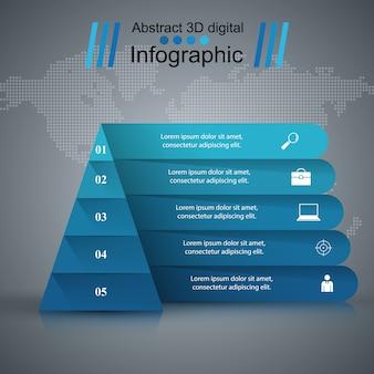 Plantilla de diseño de infografía pirámide y los iconos de marketing