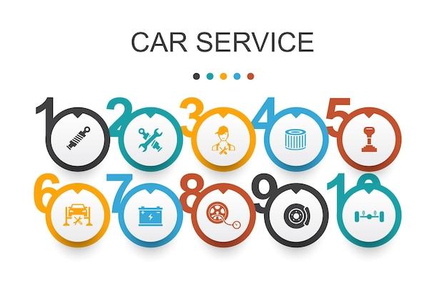 Plantilla de diseño de infografía de servicio de coche. freno de disco, suspensión, repuestos, iconos simples de transmisión