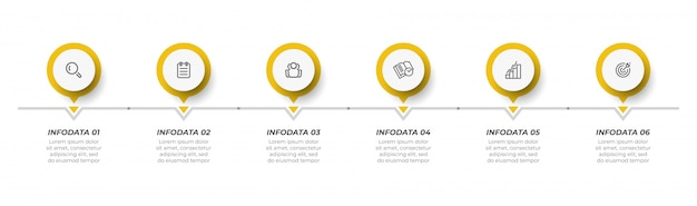 Plantilla de diseño de infografía vectorial con círculo e icono.