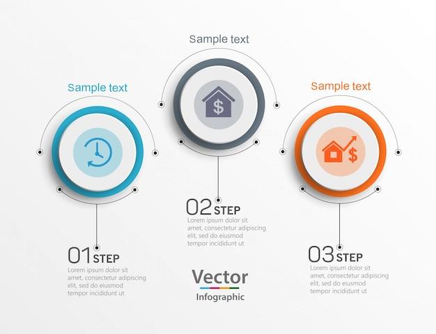 Plantilla de diseño de infografías con 3 opciones, pasos o procesos.