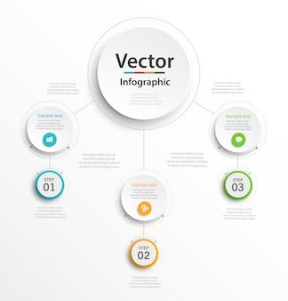 Plantilla de diseño de infografías con 3 pasos u opciones