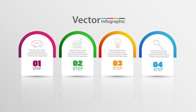 Plantilla de diseño de infografías con 4 pasos u opciones