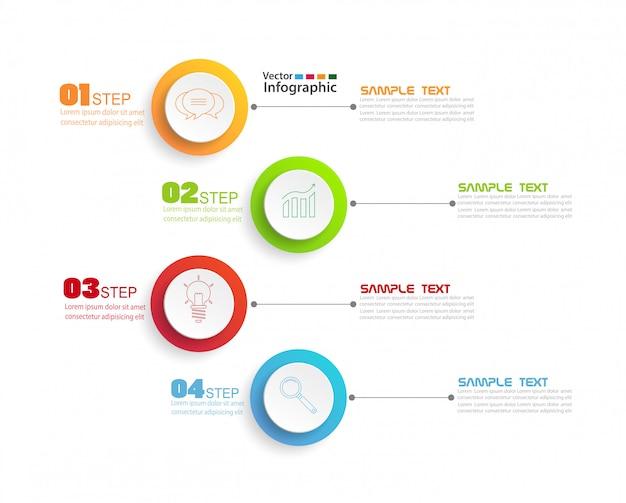 Plantilla de diseño de infografías con 4 pasos
