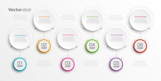 Plantilla de diseño de infografías con 6 opciones, pasos o procesos.
