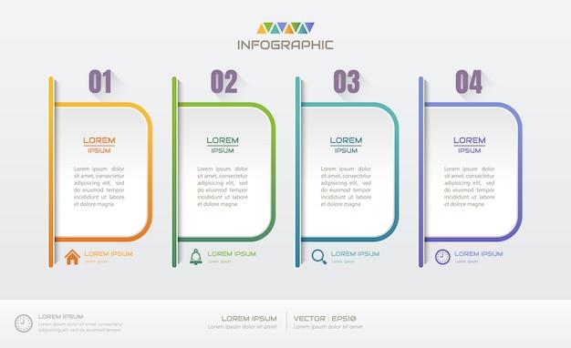 Plantilla de diseño de infografías con cuatro pasos