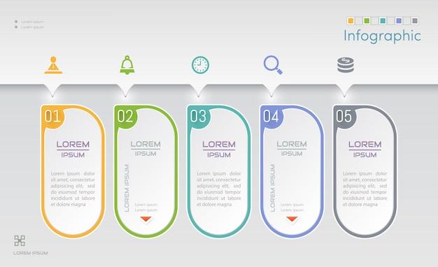 Plantilla de diseño de infografías con iconos