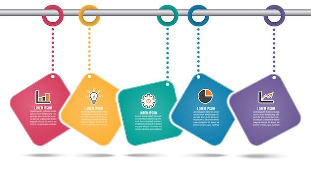 Plantilla de diseño de infografías de línea de tiempo con cinco opciones