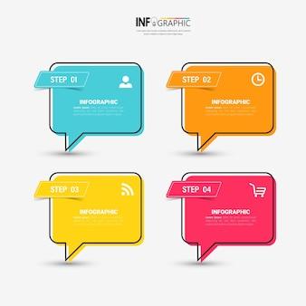 Plantilla de diseño de infografías de línea de tiempo de cuatro pasos