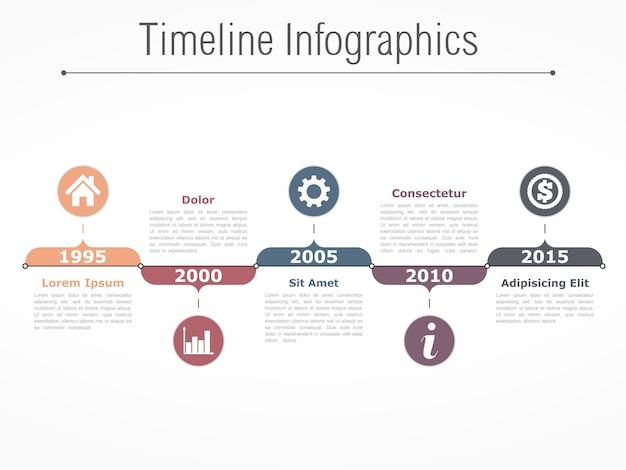 Plantilla de diseño de infografías línea de tiempo horizontal