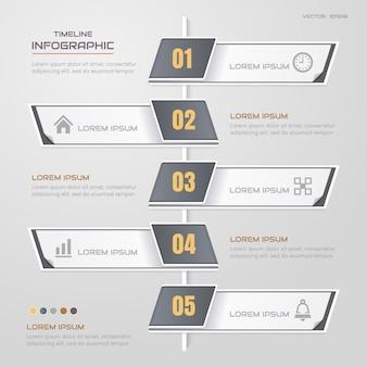 Plantilla de diseño de infografías de línea de tiempo con iconos
