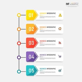 Plantilla de diseño de infografías de línea de tiempo de pasos