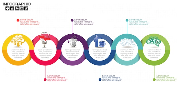 Plantilla de diseño de infografías de línea de tiempo con seis opciones.