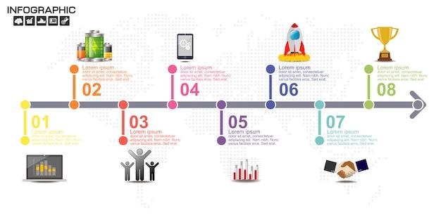 Plantilla de diseño de infografías de línea de tiempo