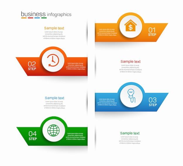 Plantilla de diseño de infografías de negocios con 4 opciones