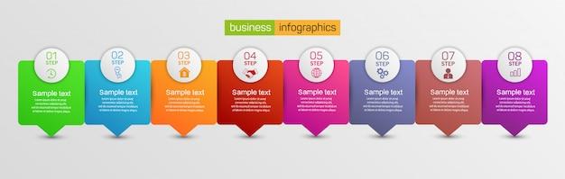 Plantilla de diseño de infografías de negocios con 8 pasos u opciones