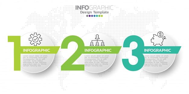 Plantilla de diseño de infografías de tres pasos.