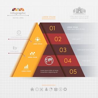 Plantilla de diseño de infografías triángulo con iconos de negocios