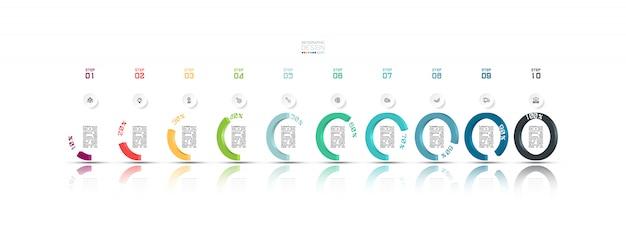 Plantilla de diseño infográfico de 10 pasos.