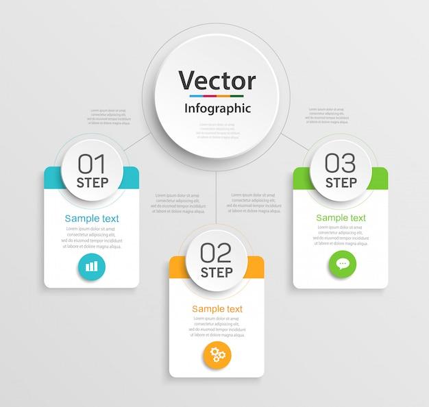 Plantilla de diseño infográfico con 3 opciones, partes, pasos o procesos.