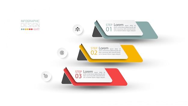 Plantilla de diseño infográfico de 3 pasos.