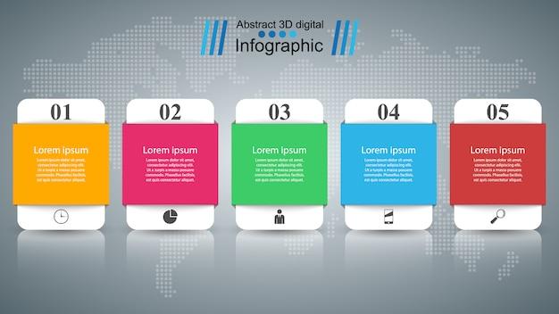 Plantilla de diseño infográfico 3d con cinco opciones.