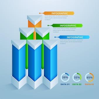 Plantilla de diseño infográfico 3d e iconos de marketing