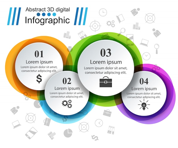Plantilla de diseño infográfico 3d e iconos de marketing