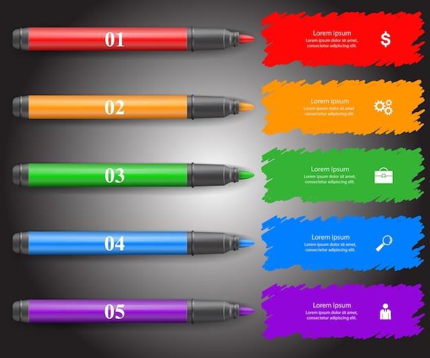 Plantilla de diseño infográfico 3d y los iconos de marketing. icono de marcador