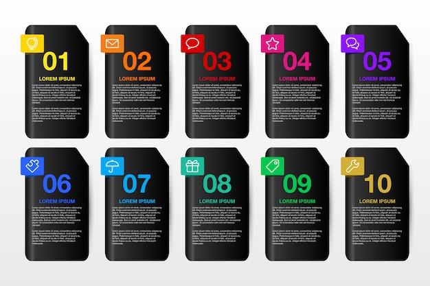 Plantilla de diseño infográfico 3d para negocios 10 opciones.