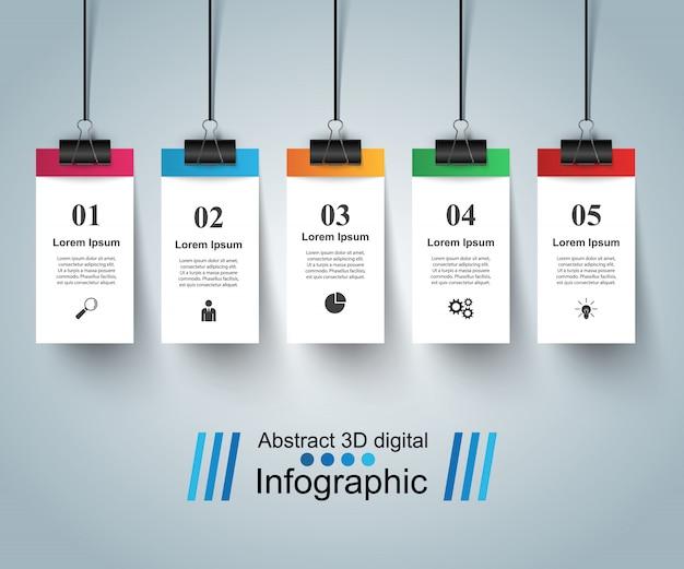 Plantilla de diseño infográfico 3d y pin