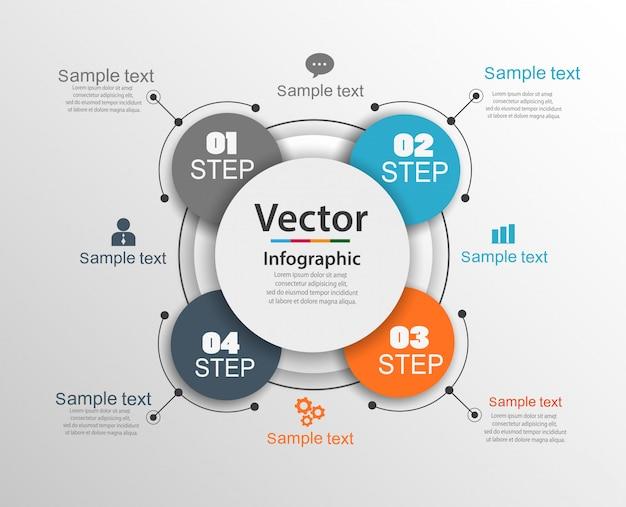Plantilla de diseño infográfico con 4 opciones o pasos