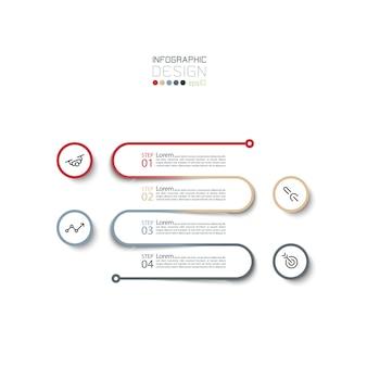 Plantilla de diseño infográfico de 4 pasos.