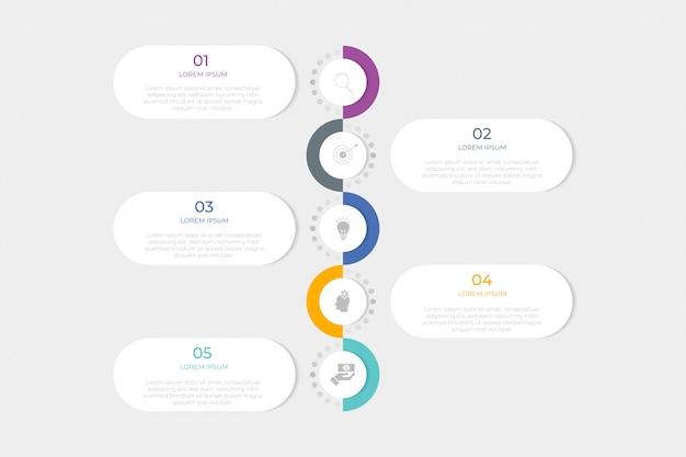 Plantilla de diseño infográfico con 5 pasos u opción.