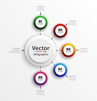 Plantilla de diseño infográfico con 5 pasos