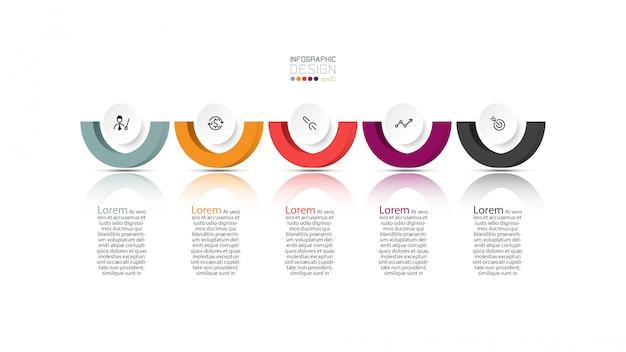 Plantilla de diseño infográfico de 5 pasos.
