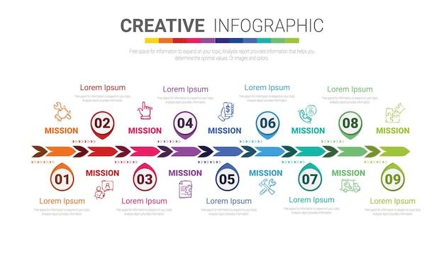 Plantilla de diseño infográfico con 9 opciones.