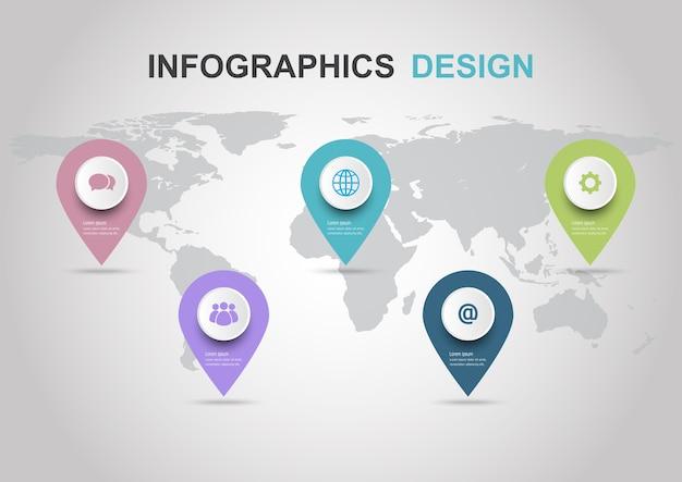 Plantilla de diseño infográfico con alfileres