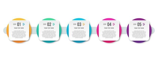 Plantilla de diseño infográfico. concepto de infografía de 5 pasos u opciones.