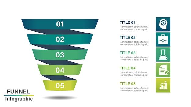 Plantilla de diseño infográfico embudo con 5 pasos.