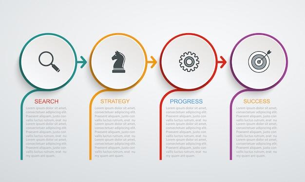 Plantilla de diseño infográfico con estructura de 4 pasos. datos de negocio, diagrama de flujo, gráfico circular con líneas.