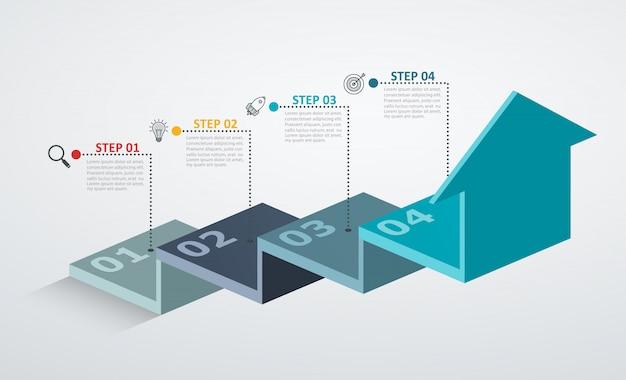 Plantilla de diseño infográfico con estructura escalonada flecha arriba, concepto de negocio con 4 piezas de opciones.