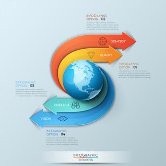 Plantilla de diseño infográfico. las flechas se originan del elemento central en forma de planeta, giran y apuntan a cuadros de texto numerados