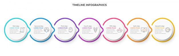 Plantilla de diseño infográfico con icnos y 7 opciones o pasos.