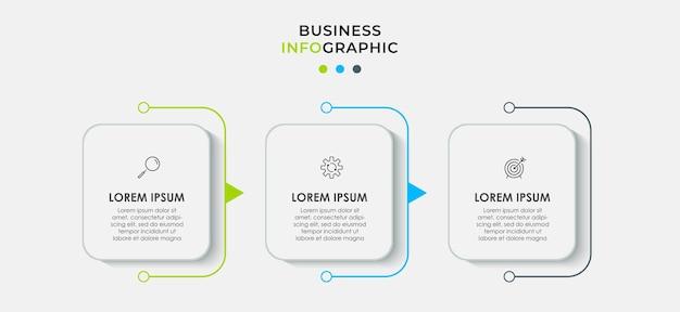 Plantilla de diseño infográfico con iconos y 3 opciones o pasos.
