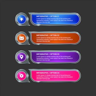 Plantilla de diseño infográfico con iconos y 4 opciones o pasos.