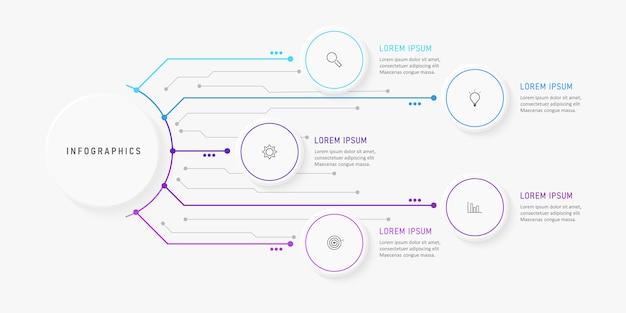 Plantilla de diseño infográfico con iconos y 5 opciones o pasos.